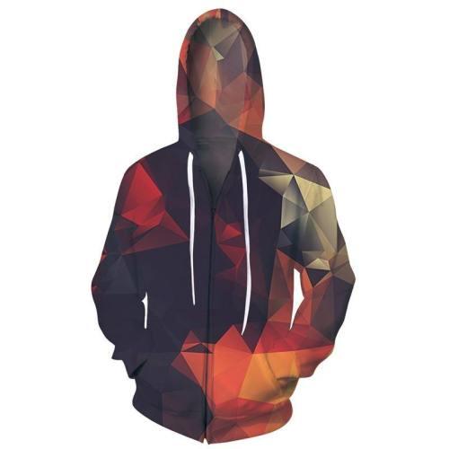 Mens Zip Up Hoodies Abstract Glow Diamond 3D Printing Hoody