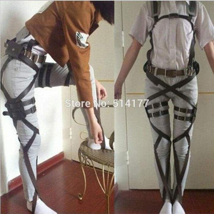 Attack on Titan Shingeki No Kyojin Cosplay Recon Corps Harness Belts Suit Hookshot Cosplay Costume