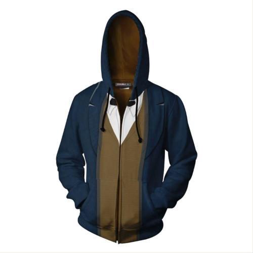 Unisex Newt Scamander Hoodies Fantastic Beasts And Where To Find Them Zip Up 3D Print Jacket Sweatshirt