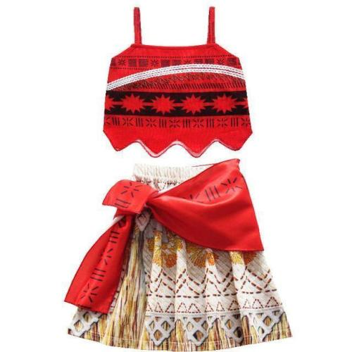 Vaiana Moana Princess Cosplay Costume For Children Dress Costume With Necklace Halloween