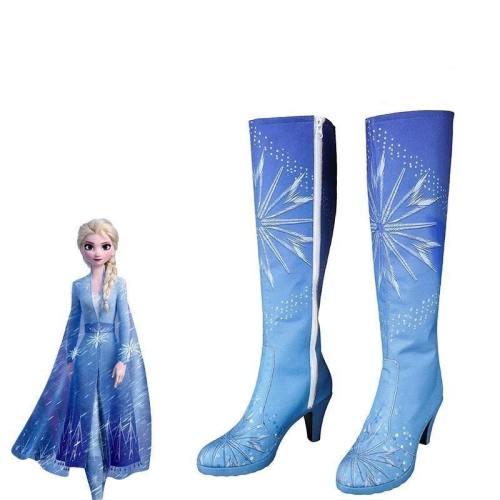 Queen Elsa Costume Snow Ice Princess Anna Froze 2 Costume Cosplay Adult Shoes Boots Halloween Knee-High High Heel Girl Custom