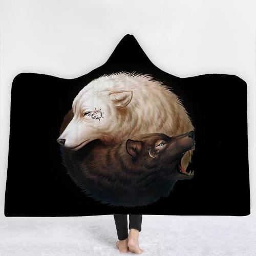 Limited Design: Yin Yang Wolves In Black Hooded Blanket