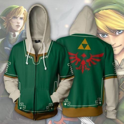 The Legend Of Zelda Link Green Zip Up Hoodie