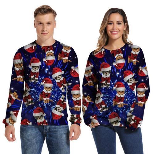 Mens Pullover Sweatshirt 3D Printed Merry Christmas Cat Blue Long Sleeve Shirts