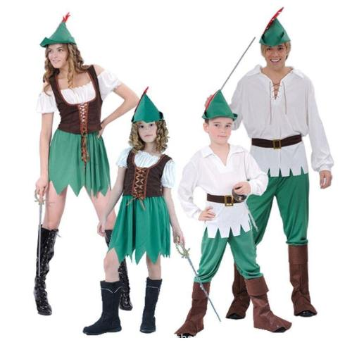 Peter Pan Costumes The Wizard Elf Hunter Dress For Adult Kids Clothing