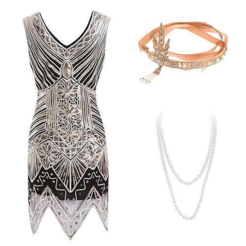 Gatsby Dress S Flapper Dress Roaring 20S Costume Fringe Sequin Beaded Gold Dress And Art Deco Accessories(S-Xxl)
