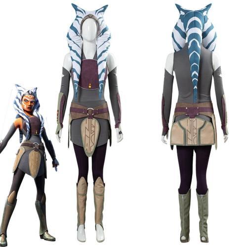 Star Wars Rebels Ahsoka Tano Women Dress Outfit Halloween Carnival Costume Cosplay Costume