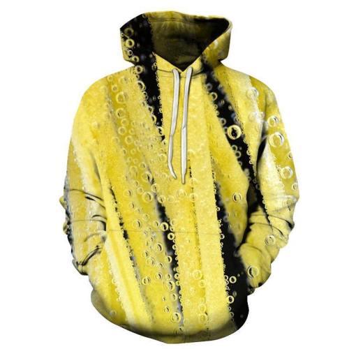 Yellow Soda Bubbles 3D Hoodie
