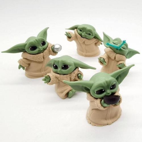 5Pcs/Set The Mandalorian Baby Yoda Grogu Figure Action Toys Kids Gifts