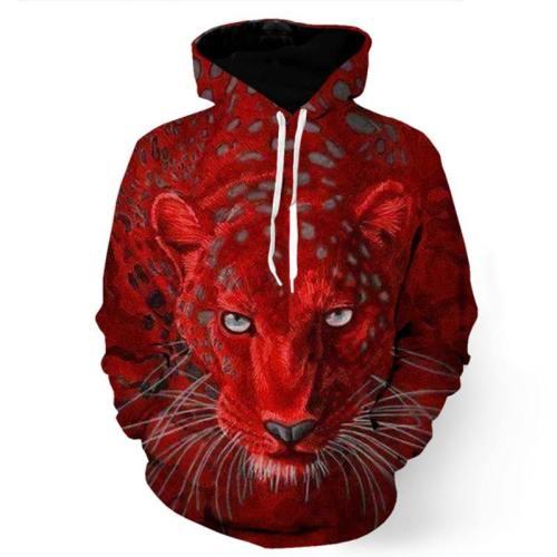Brave Leopard In Red Sweatshirt/Hoodie