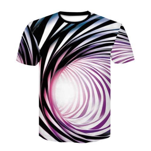 Mens T Shirt 3D Printing Vortex Stripe Pattern Tee