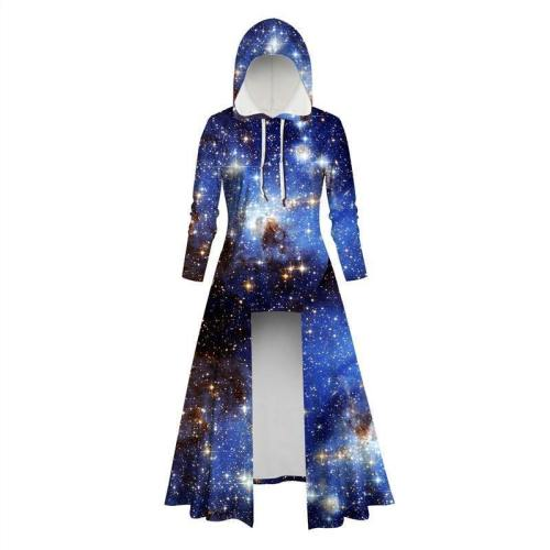 Womens Long Hoodies 3D Graphic Printed Galaxy Pullover Sweater Dress