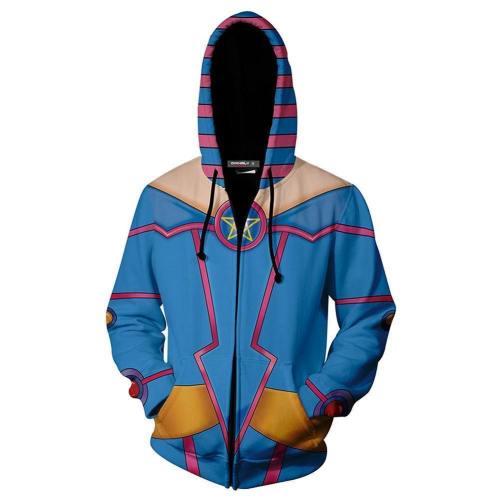 Unisex Dark Magician Girl Hoodies Yu-Gi-Oh! Zip Up 3D Print Jacket Sweatshirt