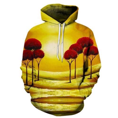 The Red Trees Oil Painting 3D - Sweatshirt, Hoodie, Pullover