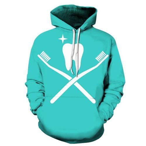Toothbrush Dentist 3D Hoodie Sweatshirt Pullover
