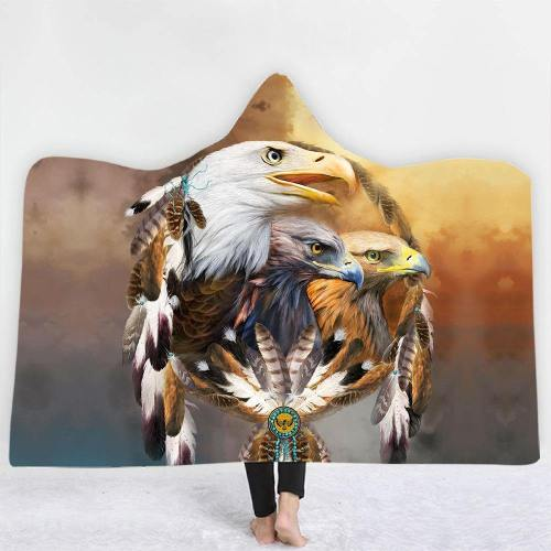 Spiritual Tribal Eagles Hooded Blanket