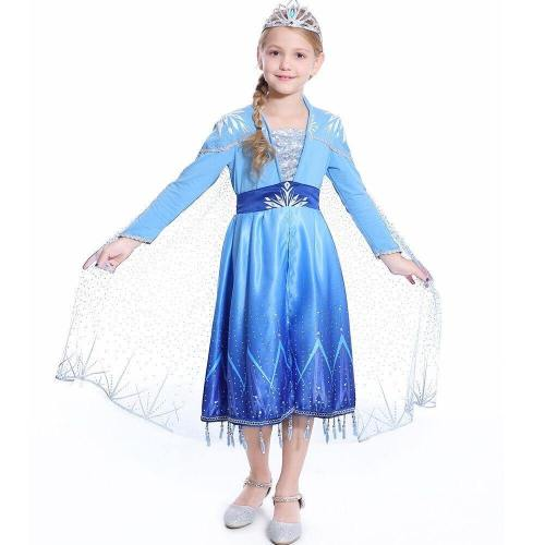 New Girl Elsa 2 Dress Snow Queen Princess Costumes Long Seelve Blue Outfit Dress Children'S Party Dress