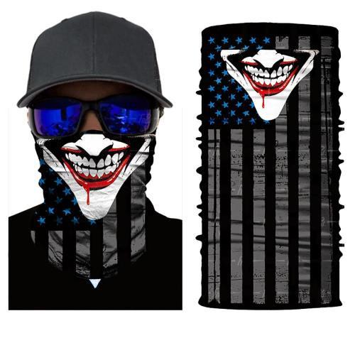 Seamless 3D Evil Clown Joker Face Mask Neck Gaiter