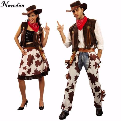 Halloween Party Cowboy Costume For Adult Men And Women Cowgirl Cosplay Western Dress Suit Carnival Adult Costumes