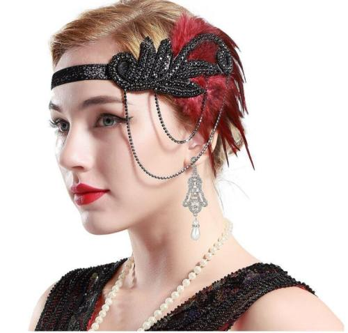 Costume Props Charleston Costume Accessories Silver 'S Headband Flapper Headpiece Great Gatsby Feather Beaded Headband Chain