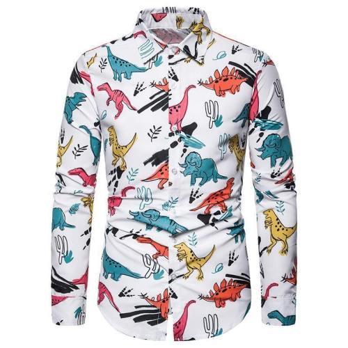 Mens Shirts Christmas Dinosa Printed Blouse