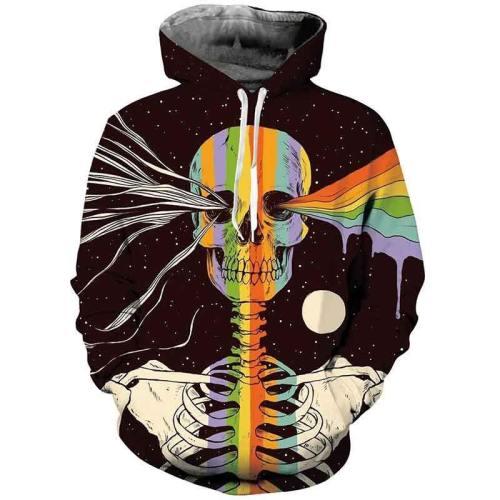Mens Hoodies 3D Printed Rainbow Skull Printing Hoodies