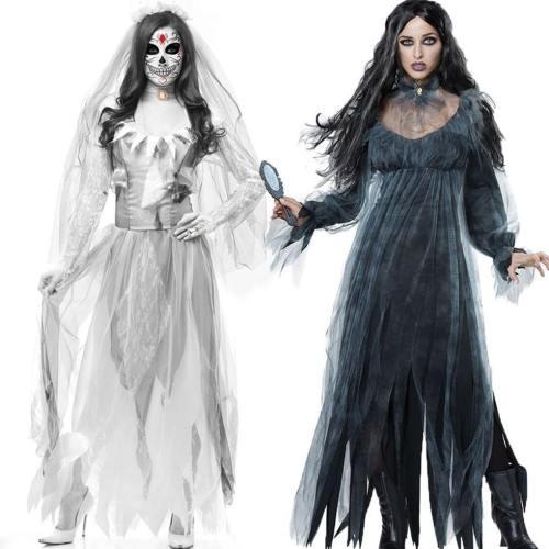 Halloween Horror Ghost Dead Corpse Zombie Bride Dress Cosplay Costumes