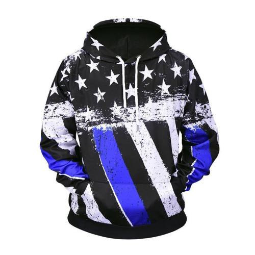 Exclusive: Usa Blue And White American Flag Hoodie