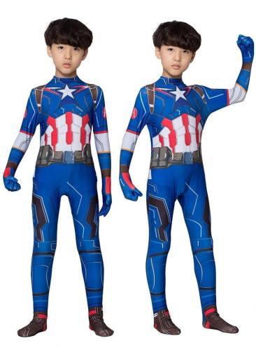 Captain America Jumpsuit Superhero Costume For Men And Children Halloween Cosplay