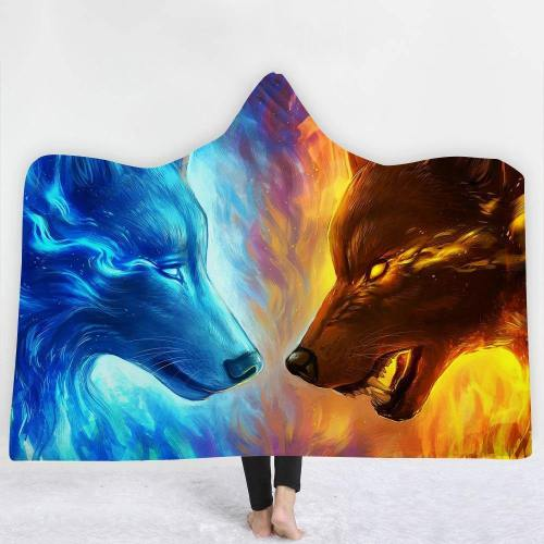 Ice And Fire 3D Wolves Hooded Blanket
