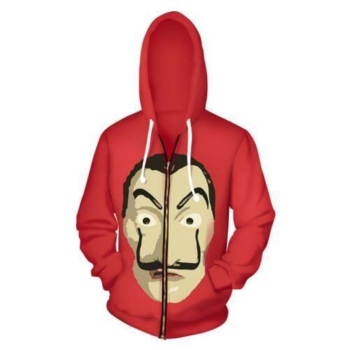 Unisex La Casa De Papel Hoodies Dali Printed Zip Up Jacket Sweatshirt