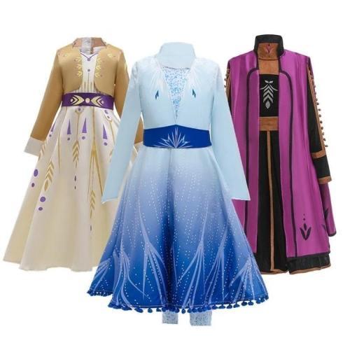 Frozen 2 Cosplay Queen Elsa Dresses Elsa Costumes Princess Anna Dress Girls Party Vestidos Fantasia Kids Girls Clothing Set
