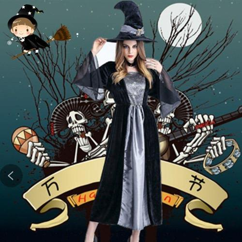 Gothic Halloween Mesh Dresses Women  New Winter Witch Cosplay Costumes Hat Trendy Girls Theme Party Classic Pleated Dress