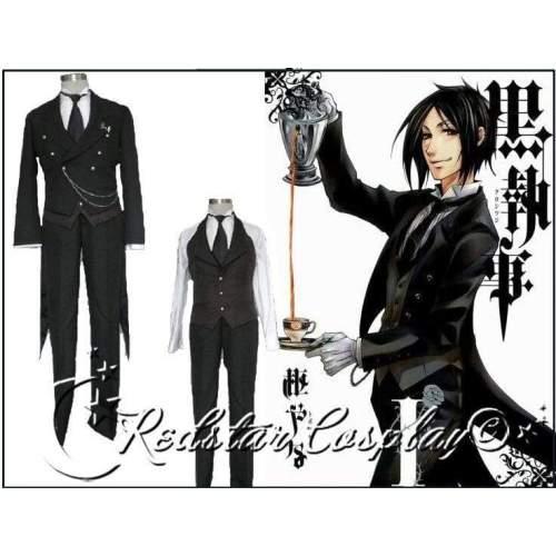 Black Butler 2 Kuroshitsuji Sebastian Cosplay Costume - Custom made in any size