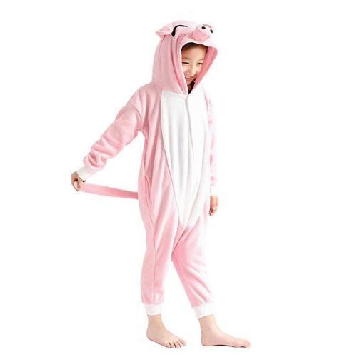 Kids Unisex Onesie Cosplay Pajamas Lovely Pink Pig Costume