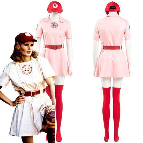A League Of Their Own Dottie Women Pink Dress Outfits Halloween Carnival Suit Cosplay Costume