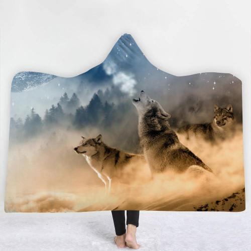 Colorful Wolves Pack 3D Hooded Blanket