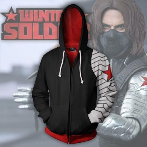 Captain America Hoodie - Winter Soldier Zip Up Hoodie