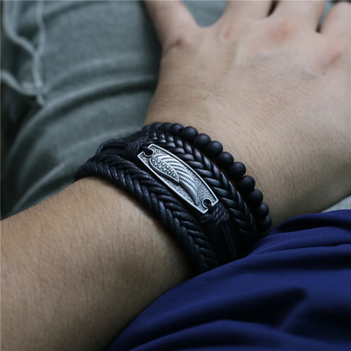 Multi-Layer Plain And Braided Bracelet