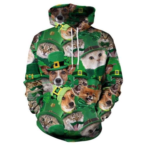 St.Patrick'S Day 3D Cat Irish Hoodie Pullover Sweatshirt