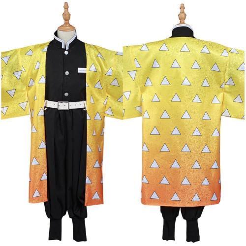 Demon Slayer: Kimetsu No Yaiba Agatsuma Zenitsu Kids Kimono Outfits Halloween Carnival Suit Cosplay Costume