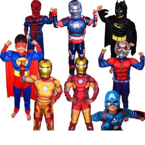 Christmas Boys Muscle Super Hero Captain America Costume SpiderMan Batman Hulk Avengers Costumes Cosplay for Kids Children Boy