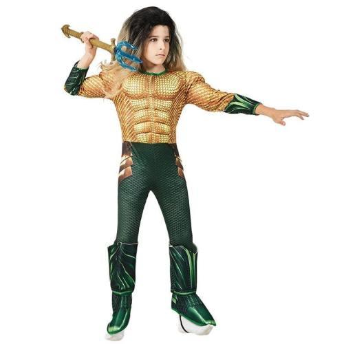 Kids Superhero Aquaman Muscle Jumpsuit Halloween Cosplay Costume For Boy And Girls