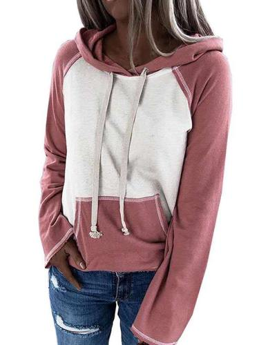 Plus Size Color Block Pullover Hoodies For Women