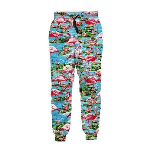 Mens Jogger Pants 3D Printing Tropical Flamingo Pattern Trousers