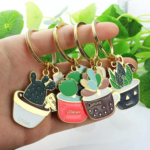 Lovely Potted Cactus Plant Keychain