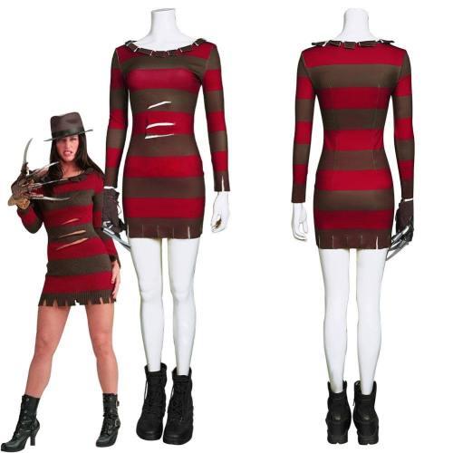 A Nightmare On Elm Street-Ghost Street Sexy Lady Freddie Kruger Dress Cosplay Costume