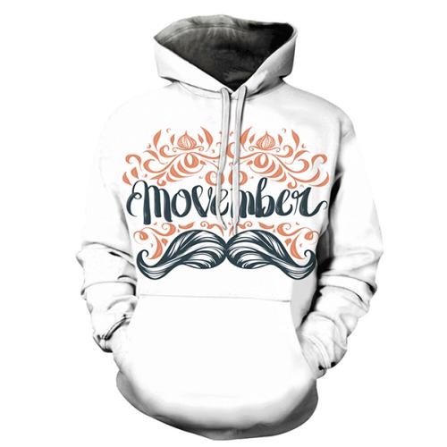 Orange Movember 3D Hoodie - Sweatshirt, Hoodie, Pullover