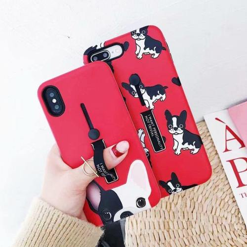Cute French Bulldog Phone Case With Finger Strap Kickstand