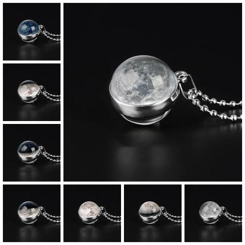 Double Sided Moon Phase Glass Pendant Necklace